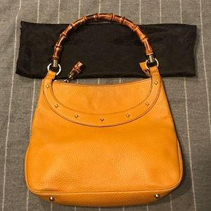 Gucci Bamboo Handle Leather Handbag